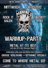 Flyer - Maniacs Of Rock - Warm Up-Party