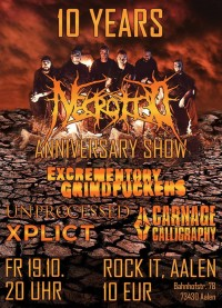 Flyer - NECROTTED - 10 Years Anniversary Show